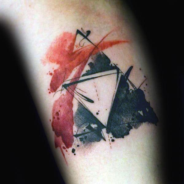 Watercolor Triforce Small Zelda Tattoos For Men