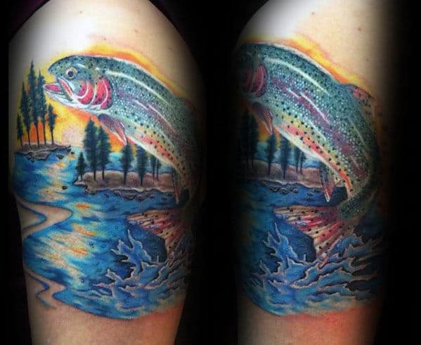 Watercolor Trout Jumping Out Of Water Arm Tattoo For Men