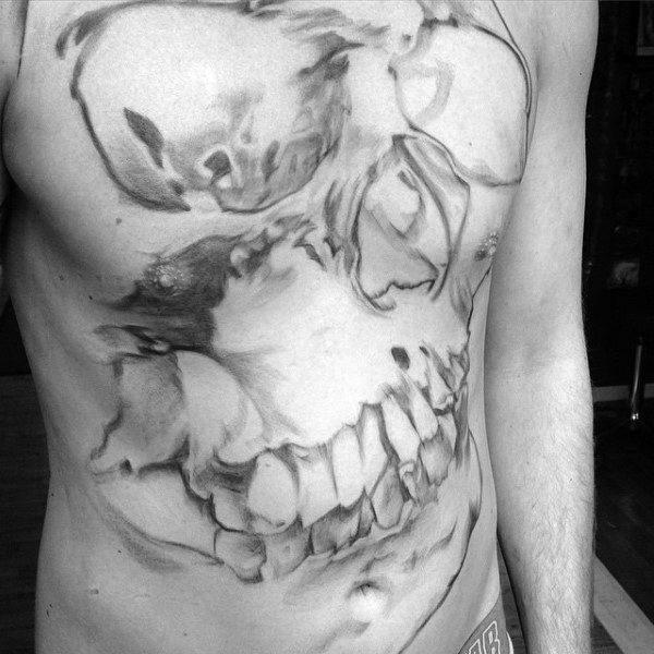 Watercolor Unique Male Full Chest Skull Tattoo