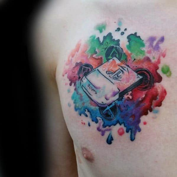 Watercolor Upper Chest Mens Playstation Themed Tattoo Design Ideas