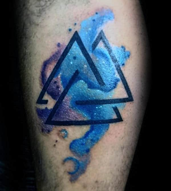 Watercolor Valknut Tattoo Designs For Guys On Arm