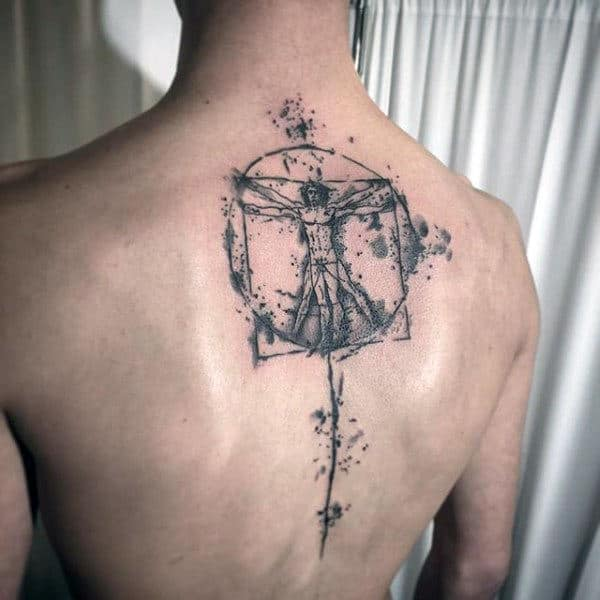 Watercolor Vitruvian Man Upper Back And Spine Tattos For Guys