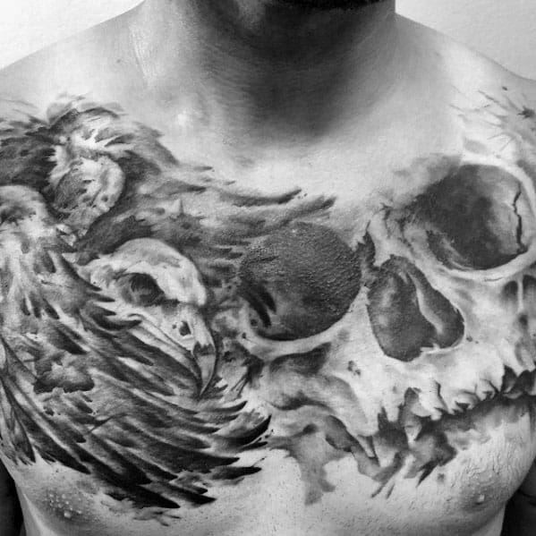 Watercolor Vulture Skull Mens Upper Chest Tattoos
