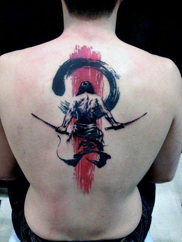 Watercolor Warrior Guys Katana Back Tattoos