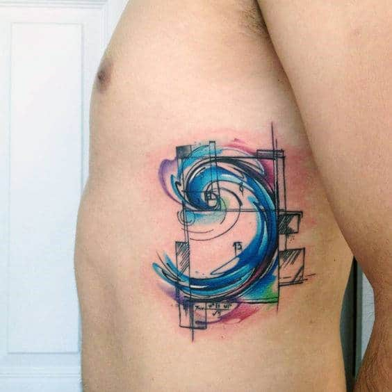 Watercolor Wave Fibonacci Spiral Mens Rib Cage Side Tattoos