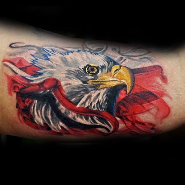 Watercolor White Ink Eagle Patriotic Guys Arm Tattoo