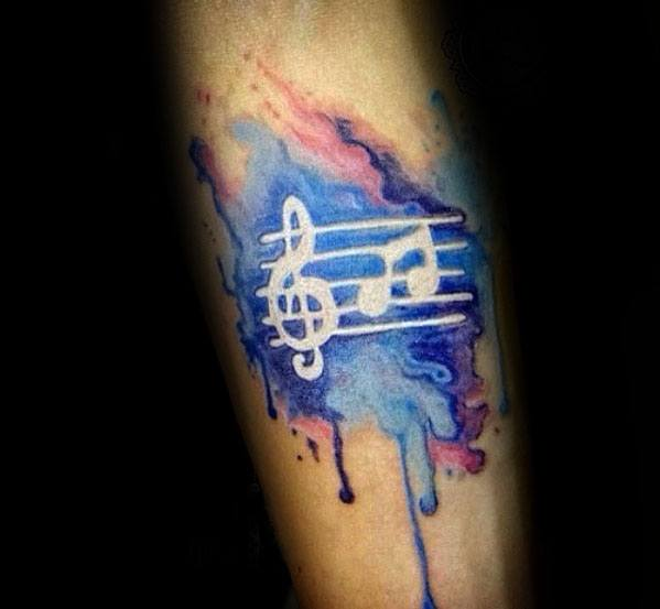 Watercolor White Ink Music Staff Male Tattoo Ideas On Forearm