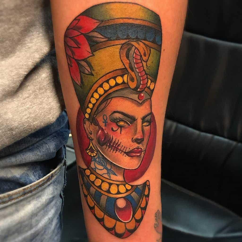 Watercolorcolored Nefertiti Tattoos Marandreatattoo