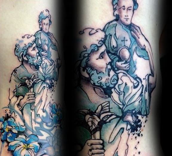 Watercolro Guys Blue Ink Saint Christopher Arm Tattoos