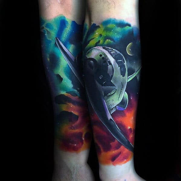 Watercoor Outer Space Neon Mens Spaceship Forearm Sleeve Tattoo