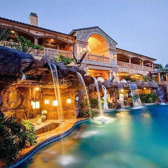 Waterfall Bar Hanging Lanterns Backyard Pool Lighting Design