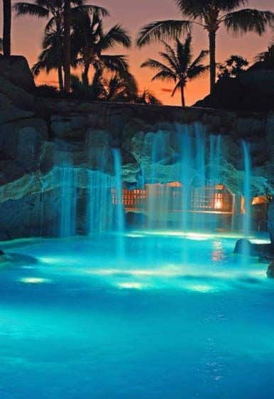 Waterfall Bridge Designs For Pool Lighting