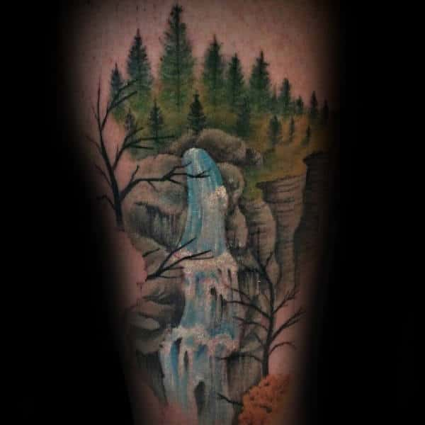 Waterfall In The Woods Mens Leg Tattoo