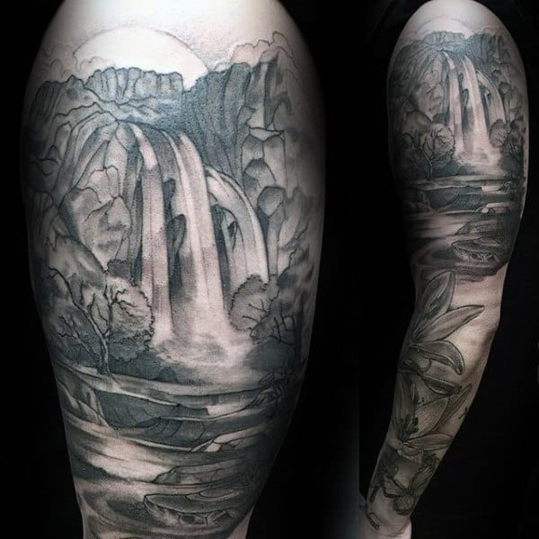 Waterfall Landscape Full Tattoo Sleeve For Guys