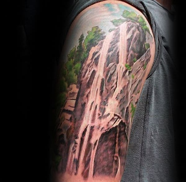 Waterfall Nature Guys Half Sleeve Tattoo