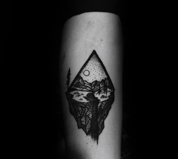 Waterfall Rock Cliff Guys Small Nature Forearm Tattoo