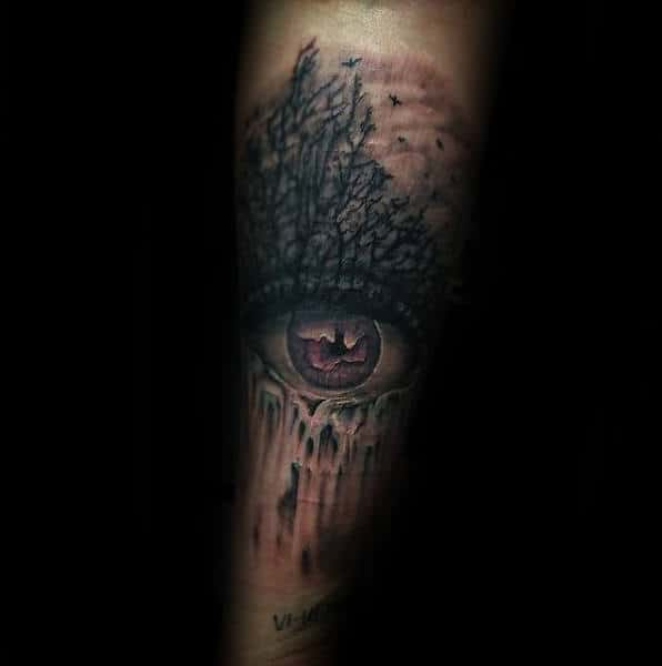 Waterfall Running From Eye Mens Forearm Tattoos