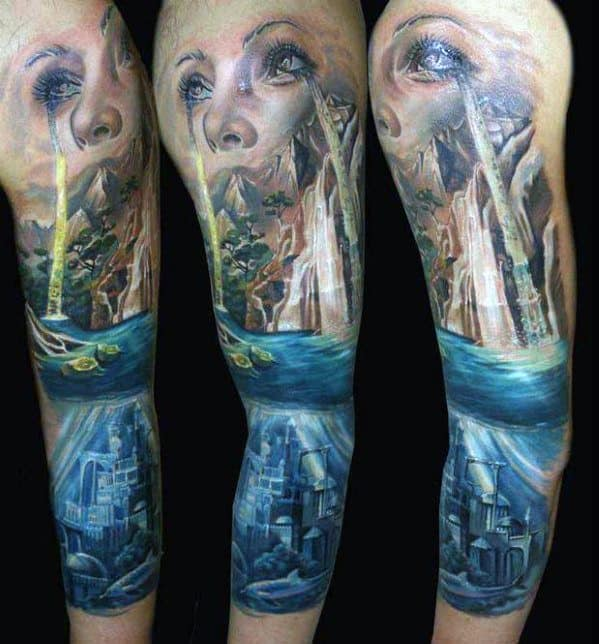 Waterfall Tears Sleeve Male Surrealism Tattoo Ideas