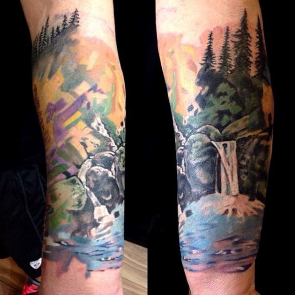 Waterfall Tree Sleeve Forearm Tattoo For Guys With Watercolor Design
