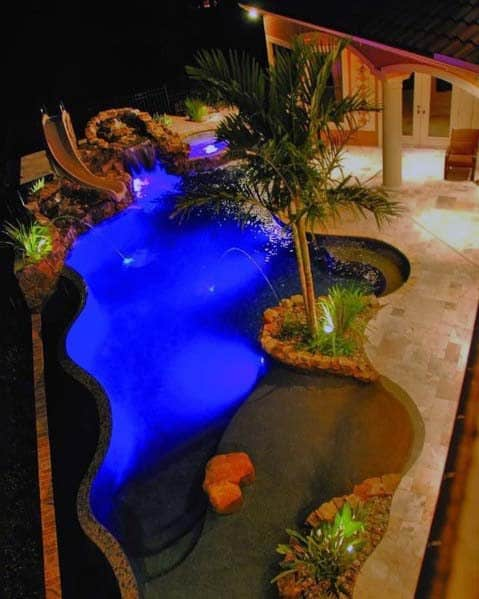 Waterfall With Slide Luxury Dream Pool Lighting Ideas