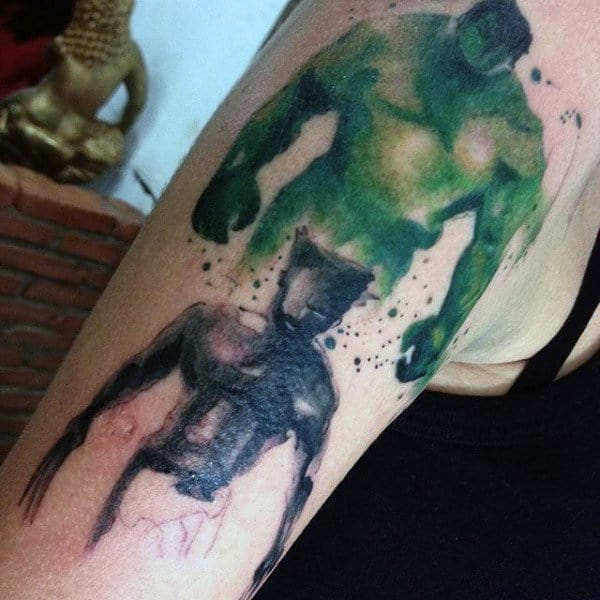 Wateroclor Wolverine With Hulk Mens Arm Tattoos
