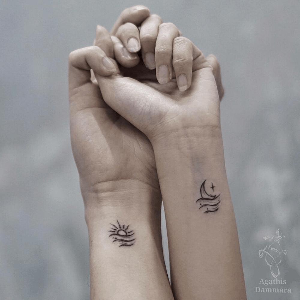 Wave Sun Moon Symbols Friendship Tattoo