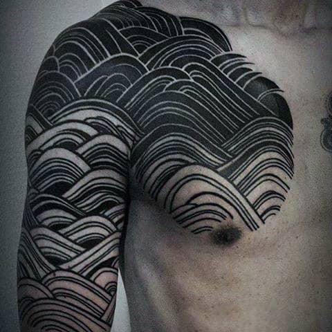 Waves Guys Black Ink Unique Line Chest And Sleeve Tattoos