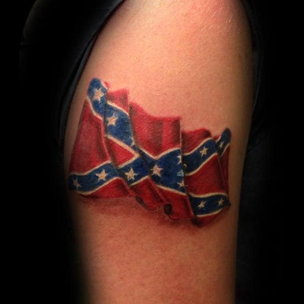 Waving Confederate Rebel Flag Small Mens Tattoos