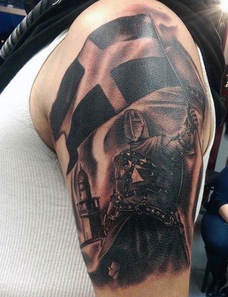 Waving Flag Knight Templar Tattoo For Men