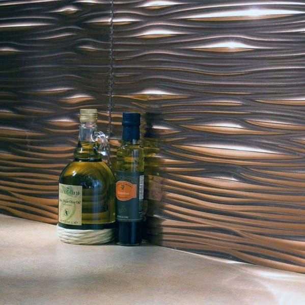 Wavy Copper Tiles Designs Metal Backsplash