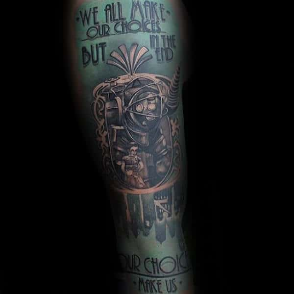 We All Make Our Choices Mens Bioshock Quote Sleeve Tattoos