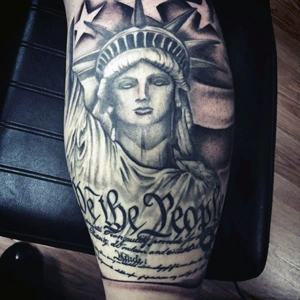 We The People American Flag With Statue Of Liberty Tattoo On Leg Calf