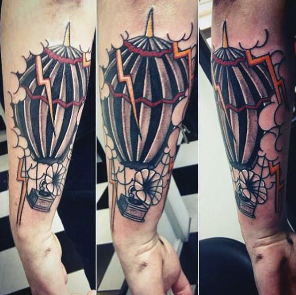 Weather Balloon Storm Lightning Tattoo Designs For Guys