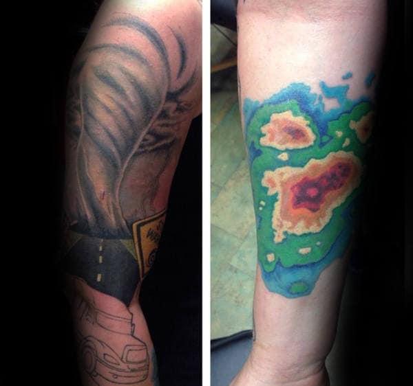 Weather Radar Mens Tornado Forearm Tattoos