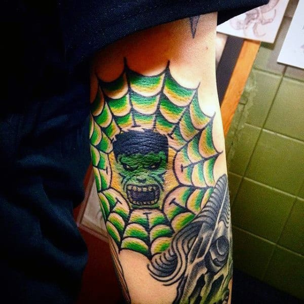 Webbed Green Hulk Tattoo Male Shoulders