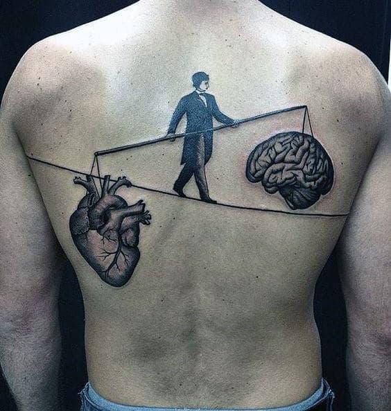 Weighing The Brain Heart Tattoo Male Back