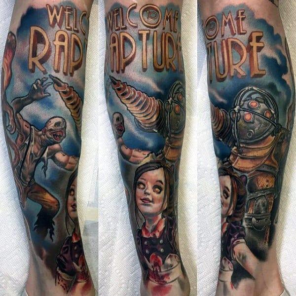 Welcome To Rapture Bioshock Male Leg Sleeve Tattoos