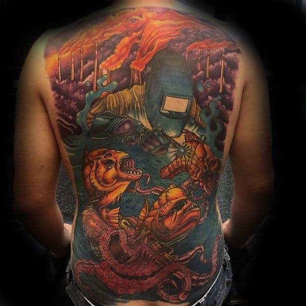 Welder Underwater Guys Cool Creative Back Tattoos