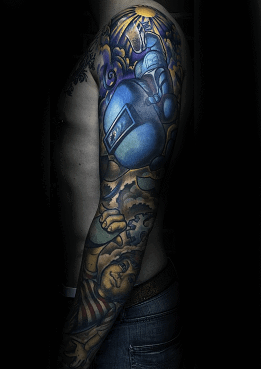 Welding Themed Mens Full Sleeve Tattoos