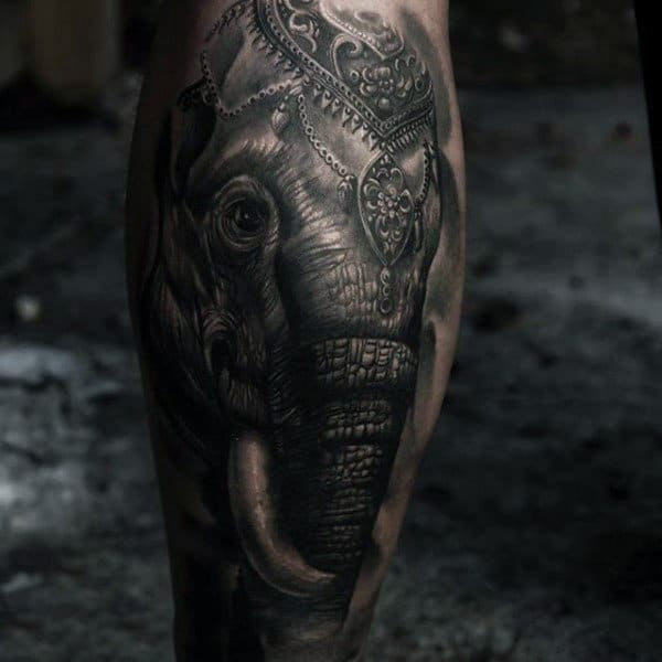 Well Decorated Asian Elephant Tattoo Male Calves