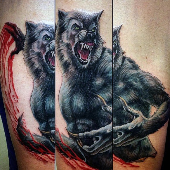 Werewolf And Blood Tattoo Mens Arms