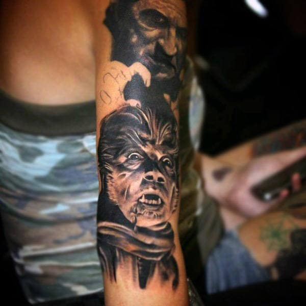 Werewolf Man Tattoo Mens Forearms