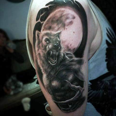 Werewolf On A Moonlit Night Half Sleeve Tattoos For Men