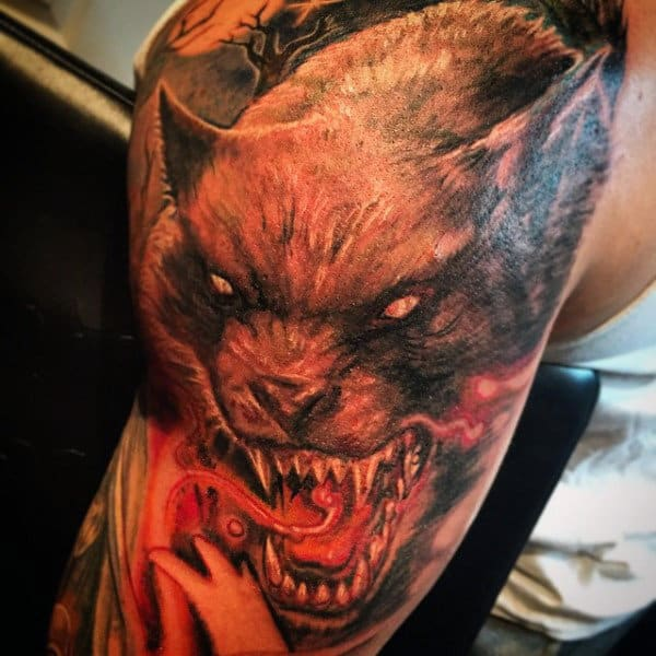 Werewolf With Blazing Red Tongue Tattoo Guys Arms