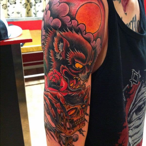 Werwolf Rose And Skull Tattoo Male Upper Arms