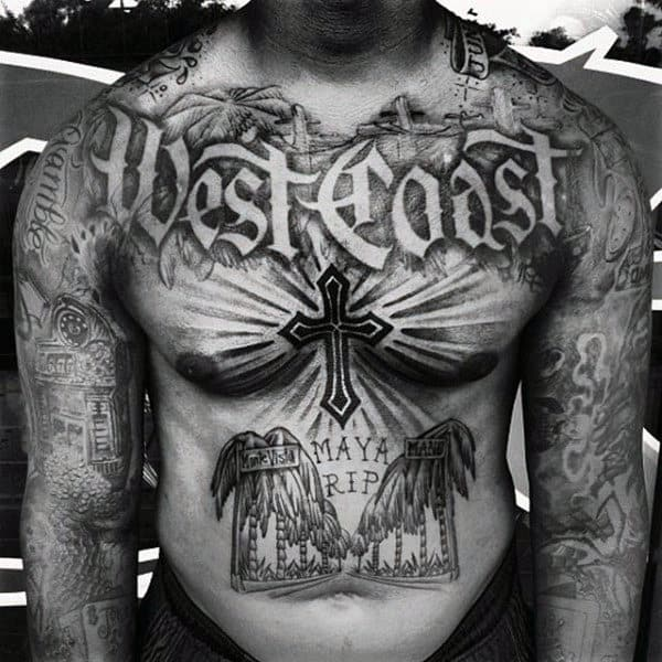 West Coast Mens Old English Chest Tattoo Design