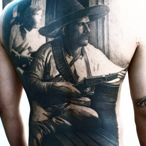 Western Fighter Mens Badass Cowboy Back Tattoo Designs