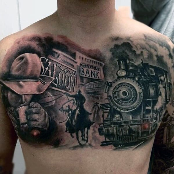 Western Movie Scene Chest Piece Tattoo With Locomotive And Saloon On Guy