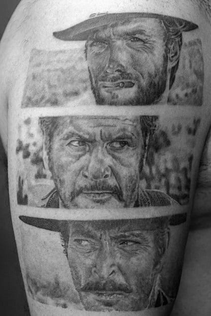 Western Style Detailed Triptych Black And Grey Tattoo