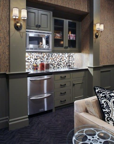Wet Bar Ideas With Flat Grey Cabinets In Home Theatre